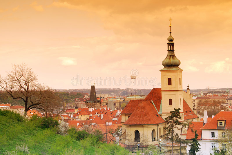 Download Prague and baloon stock image. Image of color, sunset - 5825329