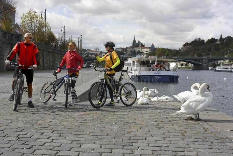 Prague on the bicycle royalty free stock image