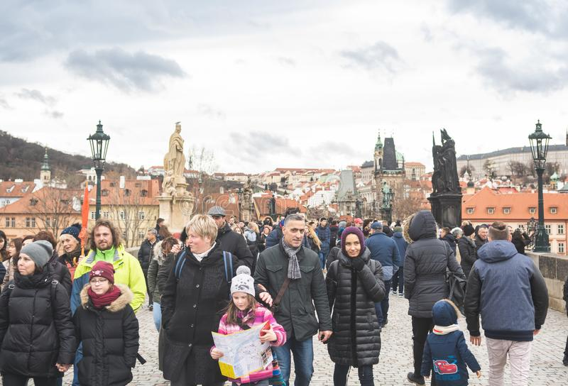 Prague, Bohemia Czech Republic - December 2018: Tourists on the Charles bridge stock photos