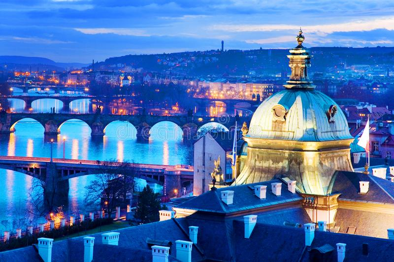 Prague bridges and Moldau river from Letna orchards, Lesser Town, Prague, Czech republic. Night view royalty free stock image