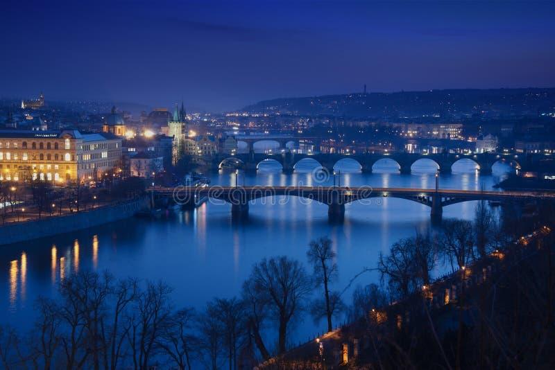 Prague bridges at night royalty free stock photography