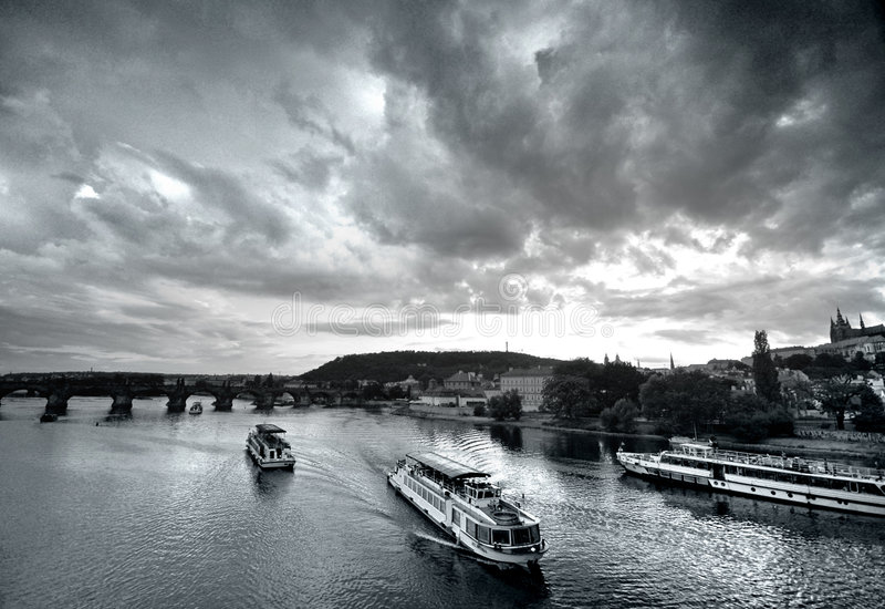 Prague bridges at sunset royalty free stock photography