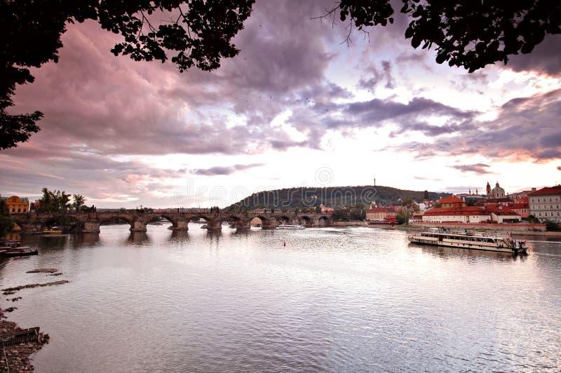 Prague bridges at sunset royalty free stock images