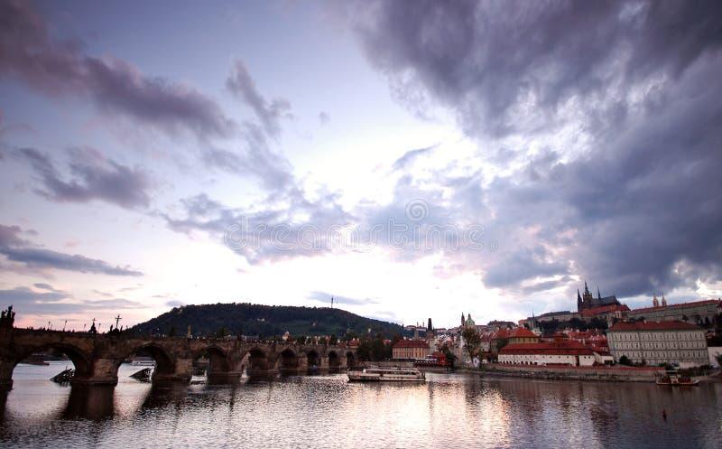 Prague bridges at sunset stock images