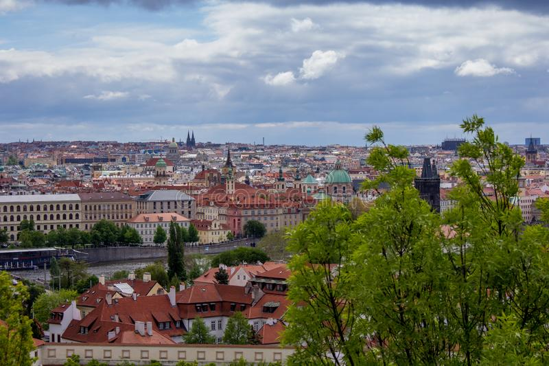 """The city of Prague, Czech Republic. Prague, capital city of the Czech Republic, is bisected by the Vltava River. Nicknamed """"the City of a Hundred Spires royalty free stock images"""