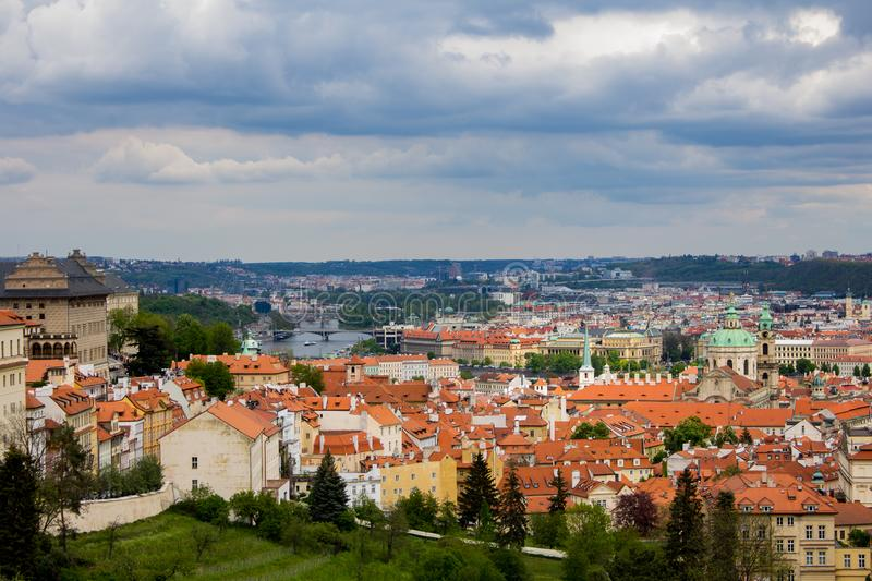 """View of Prague from the above. Prague, capital city of the Czech Republic, is bisected by the Vltava River. Nicknamed """"the City of a Hundred Spires royalty free stock images"""