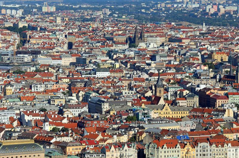 Prague is the capital of Czech Republic in Europe with many houses and palaces. Prague is the capital of Czech Republic in Europe. Aerial View with many houses stock image