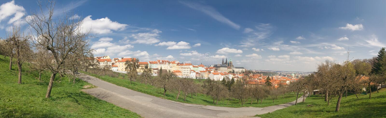 Prague Castle. Panoramic view on Prague (historic center royalty free stock photography