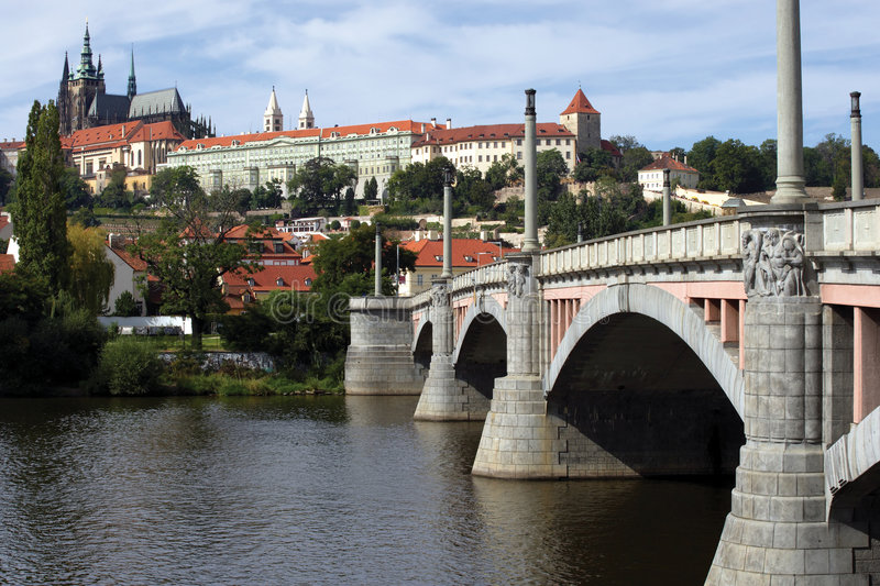 Prague Castle. A view of the beautiful Prague Castle from across the river royalty free stock photo