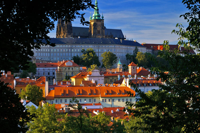 Castle fortress and cathedral Prague, Czech Republic. The famous landmark Castle and Cathedral in Prague, Czech Republic royalty free stock photos
