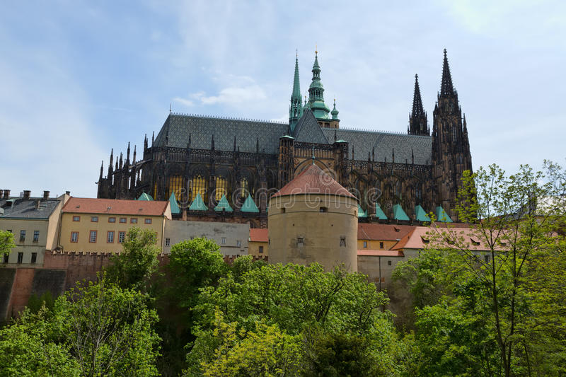 Prague Castle and Cathedral of saint Vitus in Prague, Czech Republic stock photography