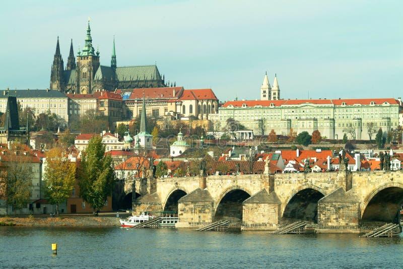 Prague castle and Charles bridge royalty free stock photos
