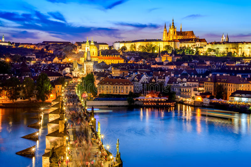 Prague Castle and Charles Bridge, Czech Republic. Prague, Czech Republic. Charles Bridge and Hradcany (Prague Castle) with St. Vitus Cathedral and St. George stock images
