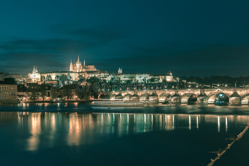 Prague Castle and Charles Bridge at night, Czechia royalty free stock photography