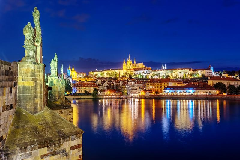 Prague Castle and Charles Bridge at night, Prague, Czech Republic stock images