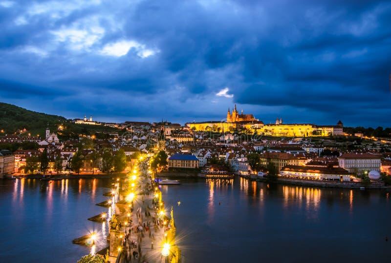 Prague Castle, Charles Bridge and Vltava, Prague, capital of Czech Republic stock images