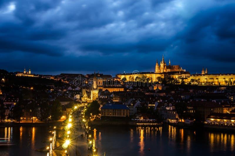 Prague Castle, Charles Bridge and Vltava, Prague, capital of Czech Republic royalty free stock photos
