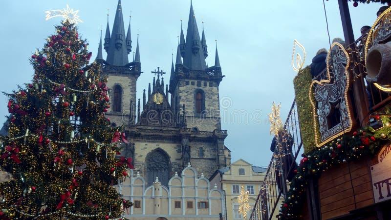 Prague Castle at Christmas stock photos