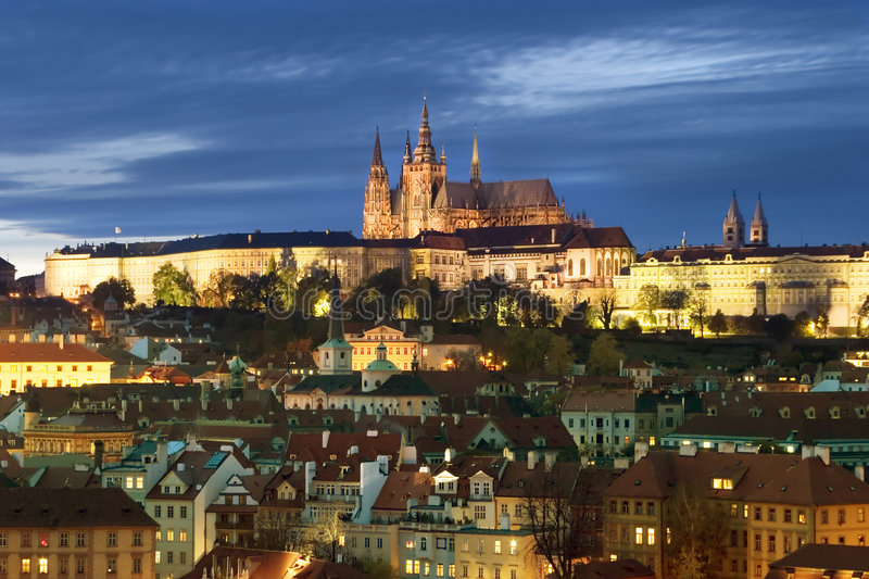 Prague Castle Cityscape. A view of the Prague Castle in the early evening, view from the Old Town Bridge Tower royalty free stock images