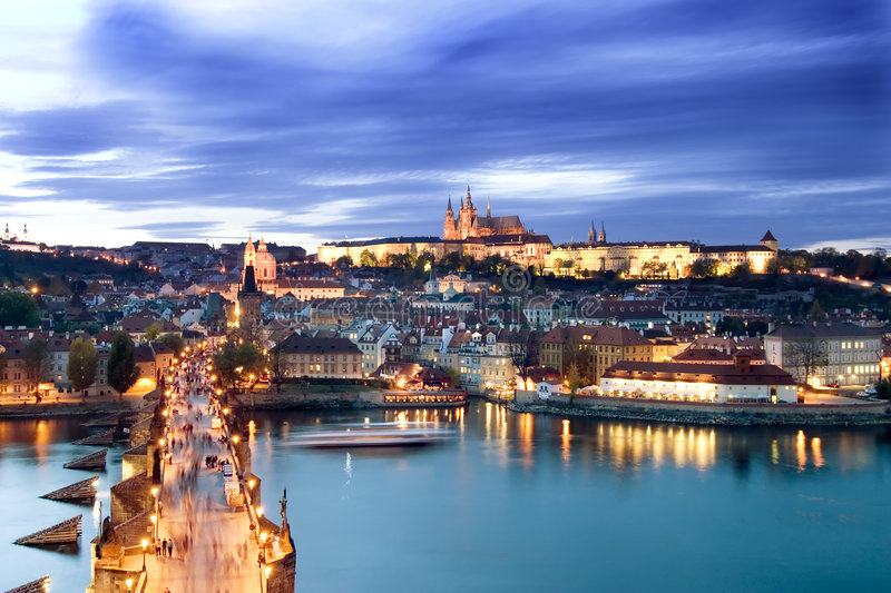 Prague Castle Cityscape. A view of the Prague Castle in the early evening, view from the Old Town Bridge Tower royalty free stock photography
