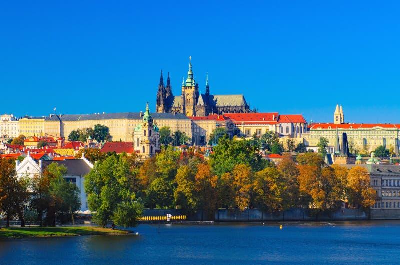 Prague Castle day view. Travel vivid autumn european city background royalty free stock photo