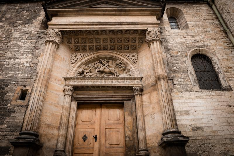 Prague Castle - Gothic architecture of st. Vitus cathedral back door. Czech Republic stock images