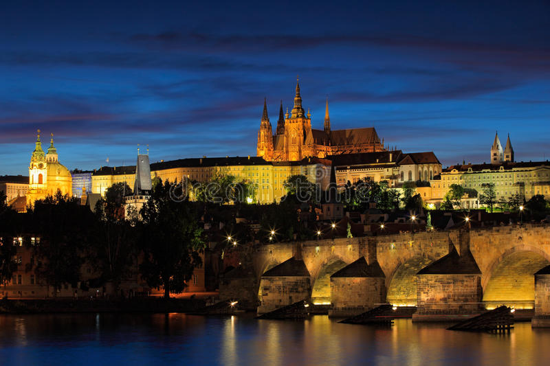 The Prague Castle, gothic style, largest ancient castle in the world, and Charles Bridge are the symbols of Czech capital, built i stock image