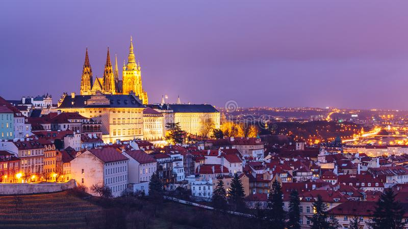 Prague Castle and Lesser Town panorama by night. View from Petrin Hill. Prague, Czech Republic. View of Prague Castle from Strahov stock photography