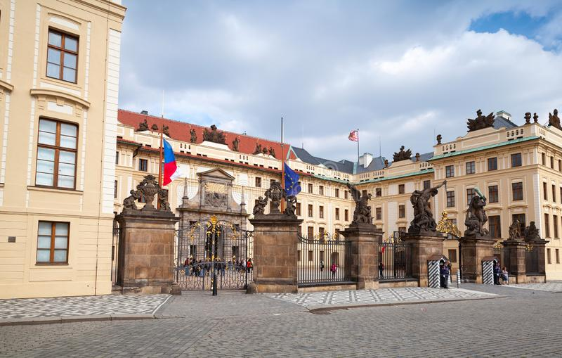 Prague Castle, Matthias Gate. Prague, Czech Republic - May 1, 2017: Prague Castle, Matthias Gate with guards. It is the official office of the President of the royalty free stock images