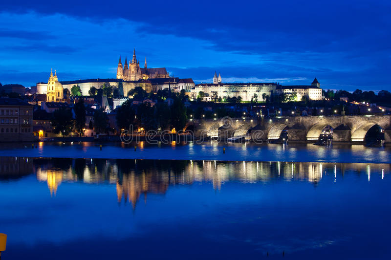 Prague Castle Night royalty free stock images