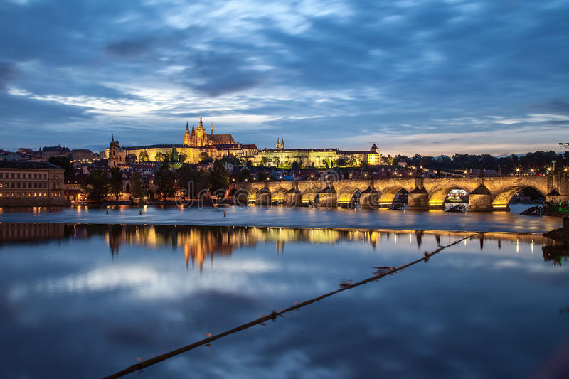 Prague Castle. Panoramic view of illuminated castle in Prague at Sunset