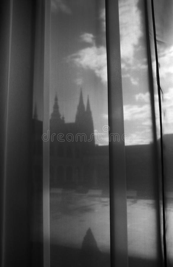 Prague Castle - Photography through Curtain - Black and White - Art Exibition. Photography through Curtain - Black and White - Art Exibition - Prague Castle royalty free stock images