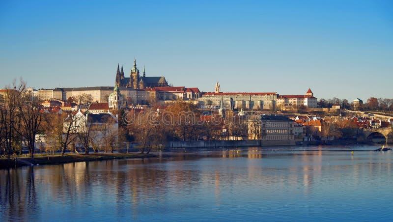 Panorama. Landmark attraction landscape in Prague: Prague Castle, Catholic Saint Vitus Cathedral and Vltava River- Czech Republic stock image