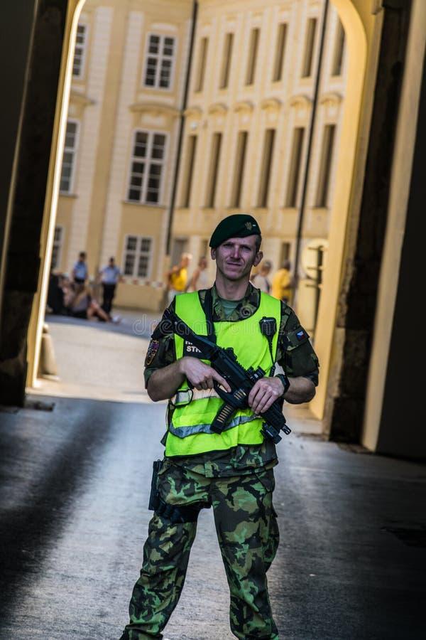 Prague, Czech Republic - September , 18, 2019: Prague Castle Security guard on duty outside one of the main gateways. royalty free stock image