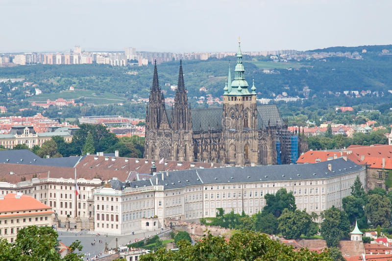 Prague Castle and St. Vitus Cathedral stock image