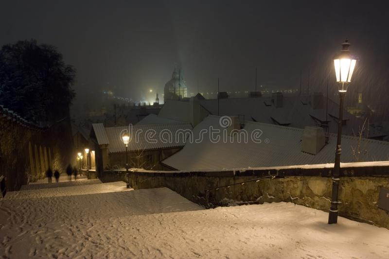 Prague Castle Stairway of The Old Town of Prague in Winter Night stock images