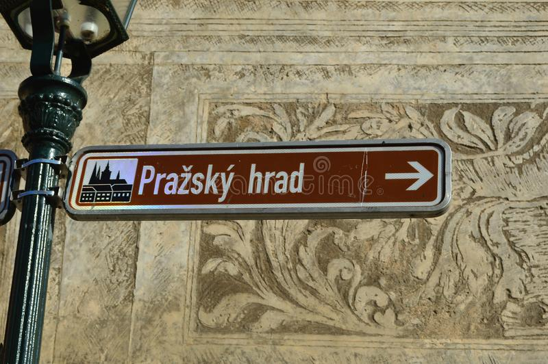 Prague Castle Tourist sign outside the Martinic Palace prague czech republic. Prague Castle Tourist sign outside the Martinic Palace in Prague One district of royalty free stock photography