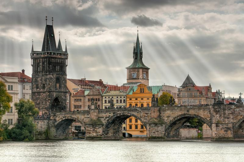 Prague - Charles bridge, Czech Republic. Scenic view of Vltava river royalty free stock photography