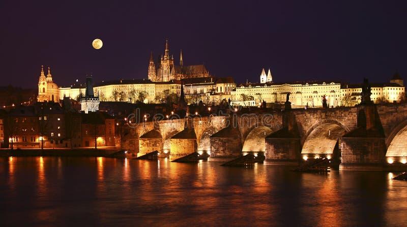 Prague, Charles Bridge at night royalty free stock photography