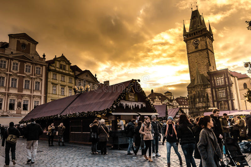 Prague christmas market stock photo