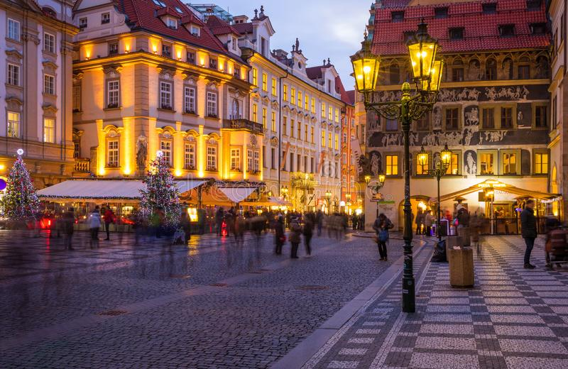 Prague Christmas market on the night in Old Town Square with blu royalty free stock image