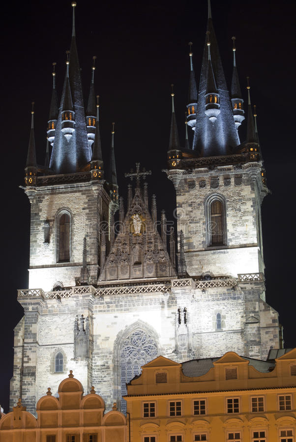 Prague. Church night view royalty free stock photography