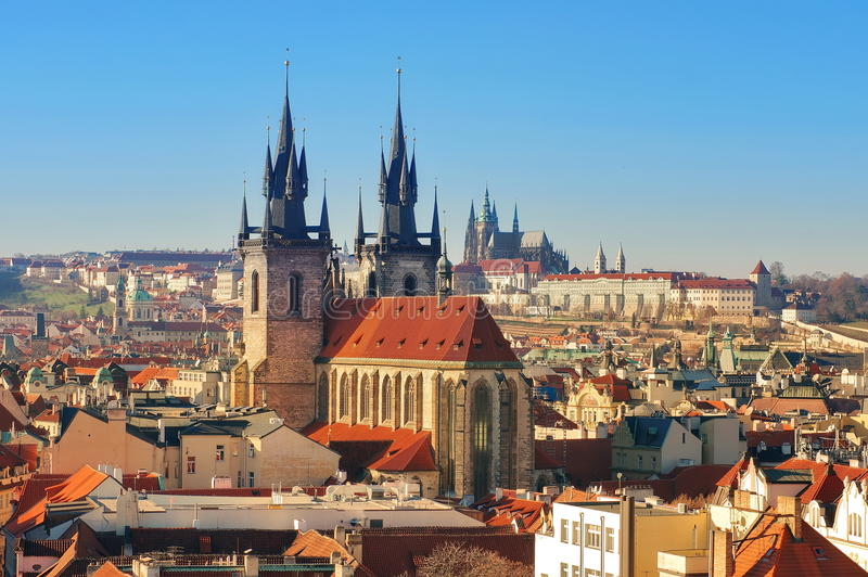Landmark attraction in Prague: Catholic Church of Our Lady before Tyn - Czech Republic. Landmark attraction in Prague - Catholic Church of Our Lady before Tyn in stock photography