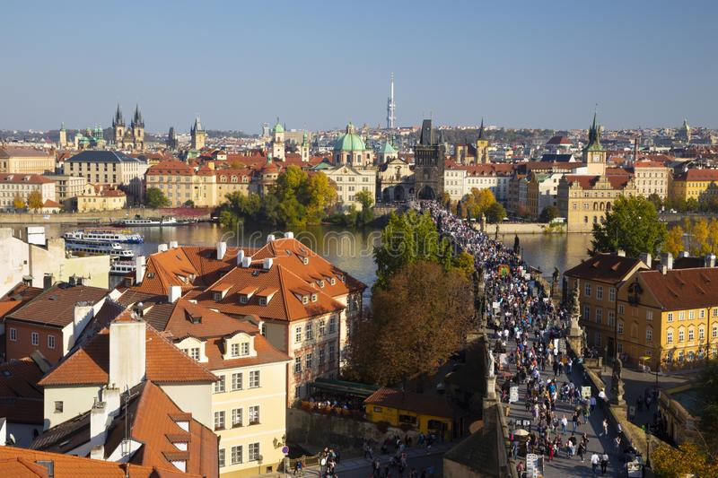 Prague - The of the city with the Charles bridge and the Old Town  in evening light.  stock image