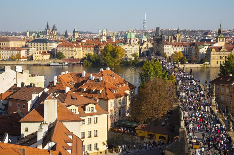 Prague - The of the city with the Charles bridge and the Old Town  in evening light.  stock photography