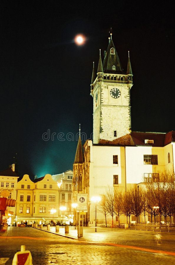 Prague city hall tower stock photography