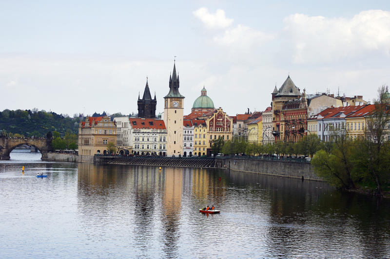 Prague city view with Vltava river and bridge royalty free stock images