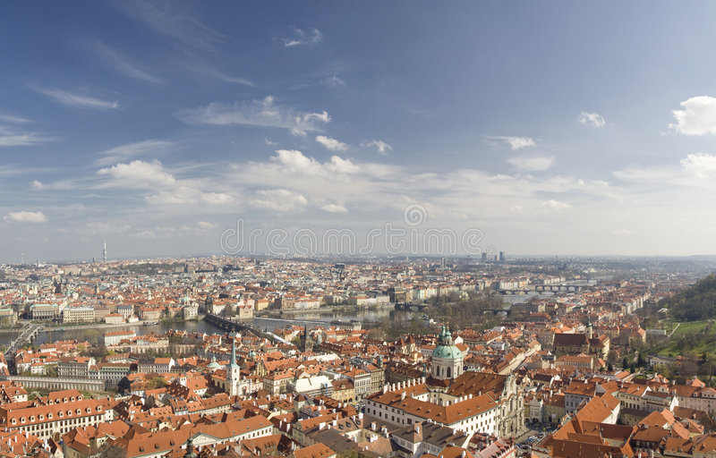 Prague Cityscape. (panorama) of historic center stock image
