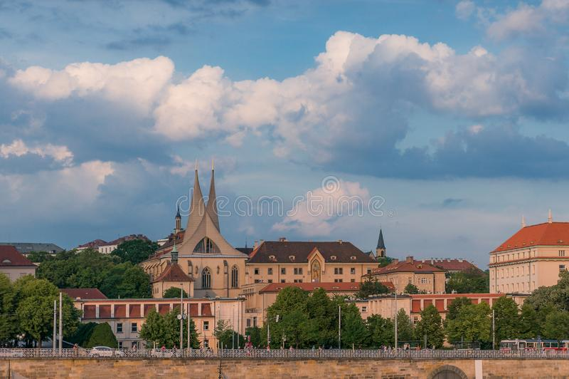 Prague cityscape with historic building of Emauzy, Emmaus church and monastery. Auropean capital cities landmark royalty free stock photo