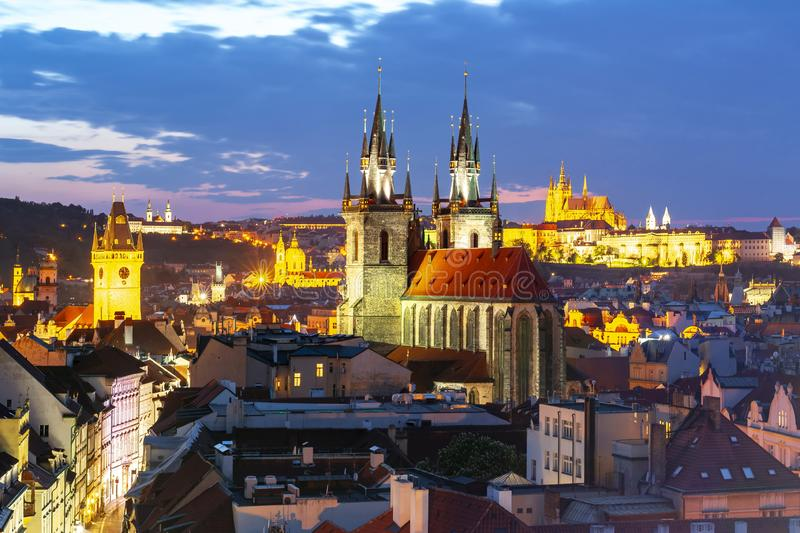 Prague cityscape at sunset with church of Our Lady before Tyn and Prague castle, Czech Republic stock images